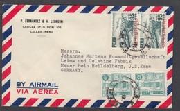 LETTRE AVEC E.A. 2 TIMBRES NON EMIS SURCHARGES UPU 1874-1949,POUR L'ALLEMAGNE ZONZ U.S./BRIEF NACH MAUER (US ZONE) - Peru