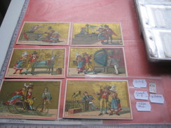 6 Litho Cartes Trade Cards Compl. Set CR 3-1-6 Printer Courbe Rouzet PUB DELORME à Vichy C1880 ELECTRICITE Tricycle - Chromos