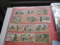 6 Litho Trade Cards Compl. Set CR 3-4-28  Printer Courbe Rouzet PUB Chocolate Arlatte Cambrai  C1880 - Duel Fighting - Chromos