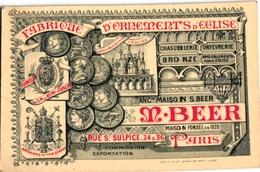 1 Carte De Visite Trade Card M.BEER Fabrique D'Ornements D'EGLISE Fournisseur Reine D'Espagne Paris Imp Camis - France