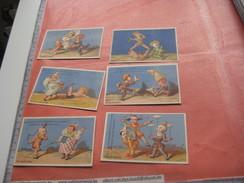 6 Litho Trade Cards Compl. Set CR 3-4-35  Printer Courbe Rouzet PUB Joly Leblond à Abbeville  C1880 - Clowns Circus Acts - Chromos