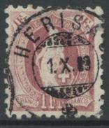 1609 - 1 Fr. Stehende Helvetia Mit Vollstempel HERISAU 1.X.89 - 1882-1906 Wappen, Stehende Helvetia & UPU