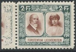 1611 - 2 Fr. Fürst Und Fürstin Mit ABART Bedruckter Bogenrand + Abklatsch - Liechtenstein