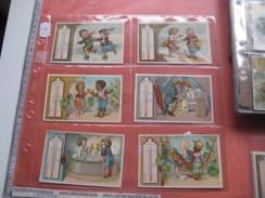 6 Litho Trade Cards Compl. Set CR 3-4-45  Impr. Courbe Rouzet No PUB  C1880 THERMOMETRES Skating Sick Temperature - Chromos