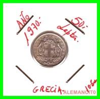 GRECIA -  GREECE  MONEDA  --  DE 50 LEPTA   AÑO 1970   -   Copper-Nickel, 18 Mm. - Grecia
