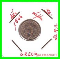 GRECIA -  GREECE  MONEDA  --  DE 50 LEPTA   AÑO 1964   -   Copper-Nickel, 18 Mm. - Grecia
