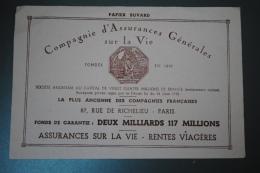 Rare Buvard Publicitaire Compagnie D'Assurances Générales Sur La Vie Rue De Richelieu Paris - Banque & Assurance