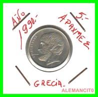 GRECIA -  GREECE  MONEDA  --  DE  5  DRACHMAI  AÑO 1990  -   Copper-Nickel, 22,5 Mm. - Grecia