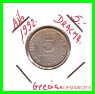 GRECIA -  GREECE  MONEDA  --  DE  5  DRACHMAI  AÑO 1992  -   Copper-Nickel, 22,5 Mm. - Grecia