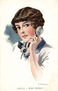 Fuhrmann, Pretty Lady With A Telephone, Hallo, Who There?, Old Postcard - Künstlerkarten