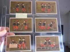 6 Litho Trade Cards Compl. Set CR 3-2-5  Courbe Rouzet PUB DARTOIS, Chocolat GLANEUR C1880 B.D. Humor Humour Militaires - Autres