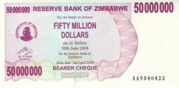 ZIMBABWE 50 MILLION DOLLARS 2008 P-57 UNC  [ZW148a] - Simbabwe