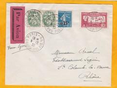 1930 - Lettre Par Avion De Paris-Grand Palais Vers Ste Colombe Les Vienne, Rhône - Via Lyon  - Salon De L'Aviation - Covers & Documents