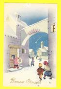 * Fantaisie - Fantasie - Fantasy * (Saemee, Nr 5) Bonne Année, New Year, Enfant, Child, Pont, Bridge, Neige, Snow, Rare - Neujahr