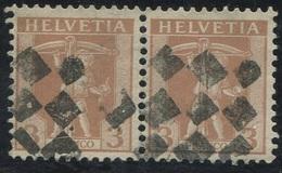 1617 -  3 Rp. Tellknabe Im Paar Mit Zollstempel - 1882-1906 Armoiries, Helvetia Debout & UPU