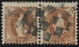 1618 - 3 Fr. Stehende Helvetia Im Paar Mit Stummem Zollstempel - Gebraucht