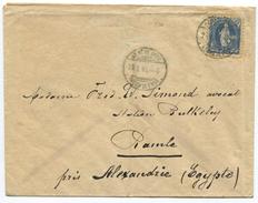 1624 -  25 Rp. Stehende Helvtia Brief Von GENÈVE Nach ÄGYPTEN 1901 Mit ABART Plattenabnützung - 1882-1906 Wappen, Stehende Helvetia & UPU