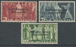1625 - 3, 5 + 10 Fr. NATION UNIES Gestempelt - SBK Katalogwert CHF 540.00