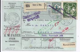 DR 1921, 1 1/2+10 Mk. Bayern Abschied A. Paketkarte V. Stein I.d. Schweiz . #199 - Non Classificati