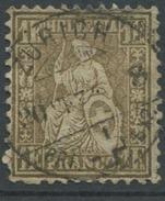 1629 - 1 Fr. Sitzende Helvetia Mit Vollstempel ZÜRICH 30.VII.74 Und ABART Blindzahn - Lettres & Documents