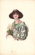 Elegant Young Lady In A Hat, Old Postcard - Künstlerkarten