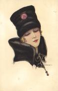 Nanni, Elegant Young Lady In A Black Hat, Old Postcard - Nanni