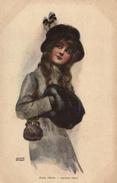 Arthur Wimble, Elegant Young Lady With A Muff, Old Postcard - Künstlerkarten