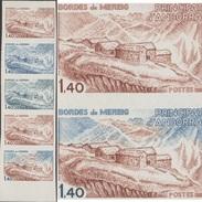 Andorre Français 1980 Y&T 291. Bande De 5, Essais De Couleurs. Bordes De Mereig, Maisons De Montagne - Géologie