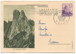 1632 - Liechtenstein 10 Rp. Fragepostkarte Gemse - Gebraucht