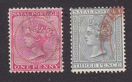 Natal, Scott #67, 69, Used, Queen Victoria, Issued 1882 - Zuid-Afrika (...-1961)