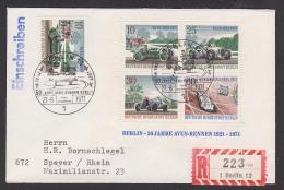 """Berlin -West SSt. """"50 Jahre AVUS-Rennen 1921 - 1971"""" R-Brief Mit Block Und Einzelmarke - Covers"""
