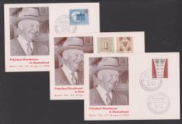 """Berlin -West SSt. """"Besuch Präsident Eisenhower 1959"""" Schmuckkarten Luftbrücke Brandenburger Tor Weltkongress - Covers"""