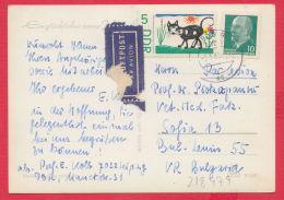 218479 / 1963 - 10+5 Pf. MIT LUFTPOST CAT   ,  New Year Nouvel An Neujahr  WOMAN HAT   , Germany Allemagne Deutschland