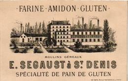 1 Carte De Visite Trade Card  SEGAUST St DENIS FARINE AMIDON GLUTEN Moulins Gémeaux Litho Rey Frères Paris - Cartes De Visite