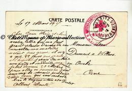 WWI 1915 - TAMPON HOPITAL TEMPORAIRE BIARRITZ - ALBERT DOUTE POUR VILLERS EN OUCHE - PYRENEES ATLANTIQUES - MILITAIRE - Marcophilie (Lettres)
