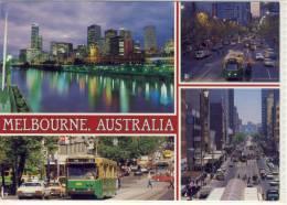 MELBOURNE -  Multi View W. Bourke, Collins, Elizabeth Street, Tram, Bus,   Nice Stamp - Melbourne
