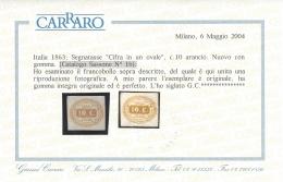 ITALIA 1863 SEGNATASSE 10c Nº 1b MNH ** WITH CERTIFICATE - Sardinia