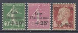 FRANCE 1929 CAISSE D'AMORTISSEMENT Nº 253/255 MNH ** - Francia