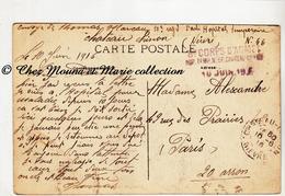 WWI 1916 - TAMPON 8 EME CORPS D ARMEE HOPITAL TEMPORAIRE N° 66 CHATEAU CHINON - MAREAU 103 ARTILLERIE NIEVRE - MILITAIRE - Marcophilie (Lettres)