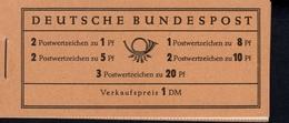 Markenheftchen Bund Postfr. MH 04 Y II Theodor Heuss MNH ** Neuf (6) 1 Randstreifen Rot Grau überdruckt - [7] West-Duitsland