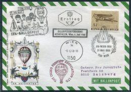 1968 Austria Wien Ballonpost IFA Great Britain Pro Juventute Flight Cover - Balloon Covers