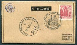 1970 Austria Salzburg / France Evreux Ballonpost Pro Juventute Flight Cover - Balloon Covers