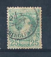 MON03) 1885 Effigie CARLO III 25CENT VERDE Used  Unif. N 6 - Monaco