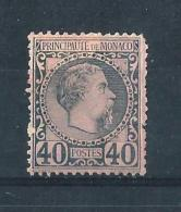 MON04) 1885 Effigie CARLO III 40Cent.Azzurro Su Rosa MLH* Unif. 7 - Monaco