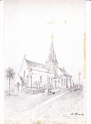BLAINVILLE (Manche), L'Eglise, Dessin Avec Réhauts De Gouache, De Hubert CLERGET Vers 1893 - Dessins