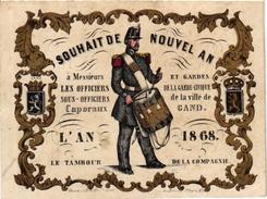 1 Carte De Visite Trade Card Souhait De Nouvel AN Garde-Civique De GAND  L'AN 1868  Gouden Opdruk Litho - Cartes De Visite