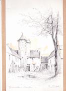 GONNEVILLE - BLAINVILLE (Manche), (Le Manoir), Dessin Avec Réhauts De Gouache, De Hubert CLERGET Vers 1893 - Dessins