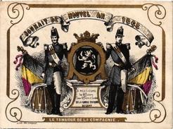 1 Carte De Visite Trade Card Souhait De Nouvel AN Garde-Civique De GAND  L'AN 1865  Gouden Opdruk Litho - Cartes De Visite