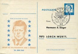 19853 Germany, Special Stationery Card 1963 With Special Postmark President Des U.s.a. J.f. Kennedy