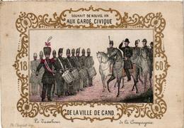 1 Carte De Visite Trade Card Souhait De Nouvel AN Garde-Civique De GAND  L'AN 1860   Gouden Opdruk Litho Choquet  GENT - Cartes De Visite